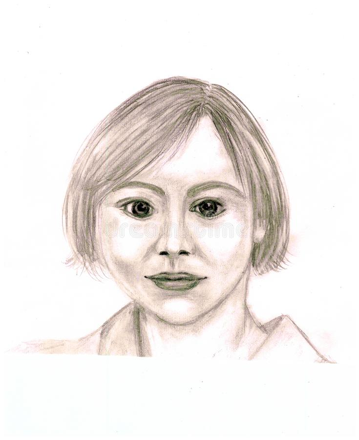 Portret młoda kobieta z round twarzą royalty ilustracja