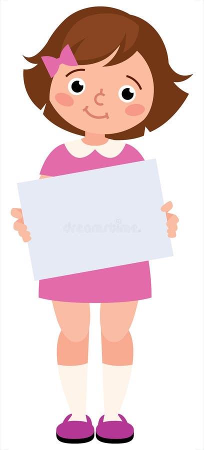 Portret młoda mała dziewczynka trzyma pustą szyldową białą księgę na białym tle ilustracja wektor