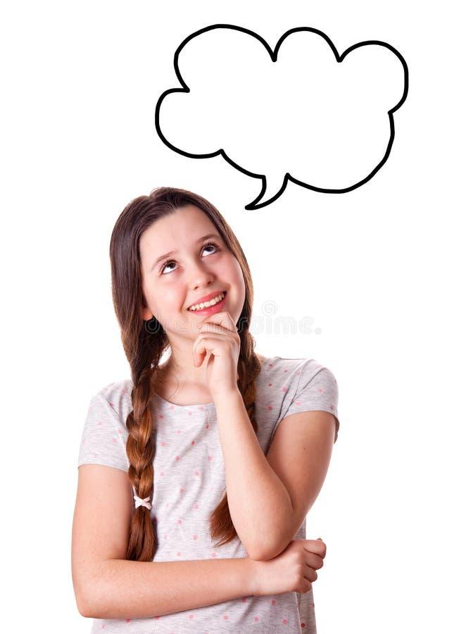 Portret młoda marzy dziewczyna obrazy stock