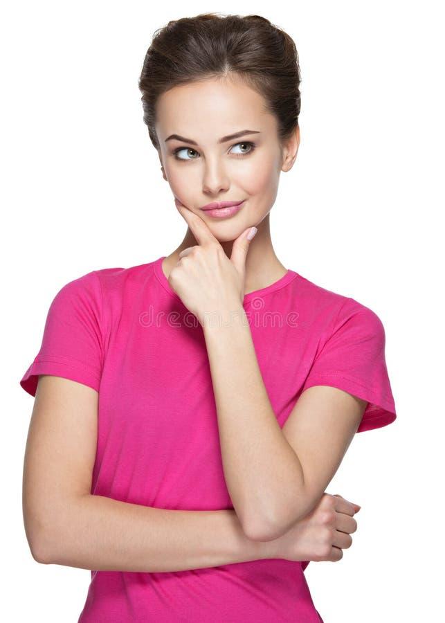 Portret młoda myśląca kobieta z niektóre problemem obraz stock