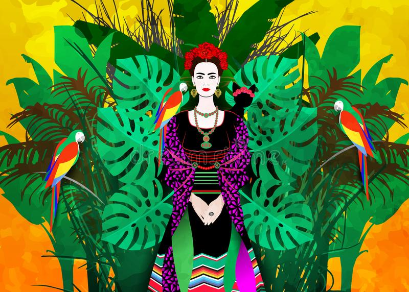 Portret młoda piękna ameryki łacińskiej kobieta z tradycyjną fryzurą Meksykańscy kolczyki Handmade, korona czerwoni kwiaty royalty ilustracja