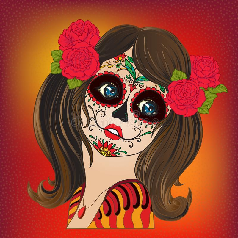 Portret młoda piękna dziewczyna w Halloween lub dzień De royalty ilustracja