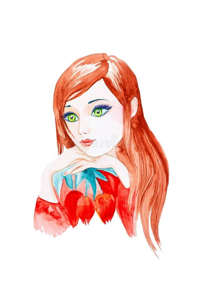 Portret młoda piękna dziewczyna z czerwonymi długie włosy i dużymi zielonymi oczami w górę Mienie czerwieni tulipany beak dekorac ilustracja wektor