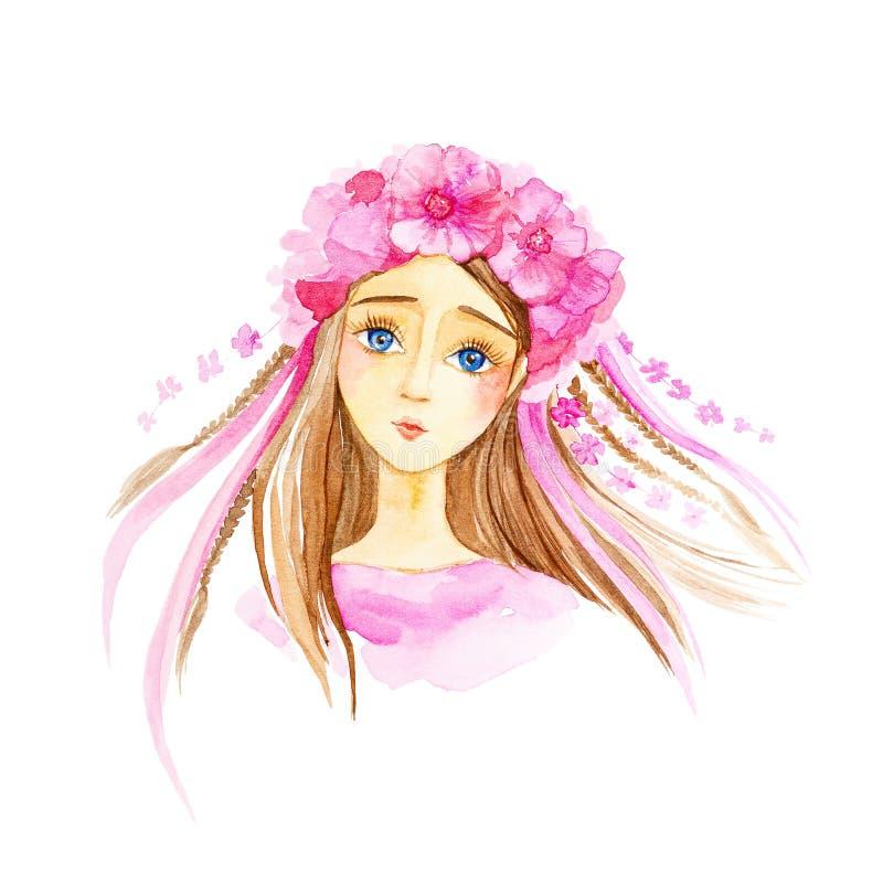 Portret młoda piękna dziewczyna z niebieskimi oczami, w różowi suknię i wianek kwiaty na ona kierownicza beak dekoracyjnego lataj ilustracji