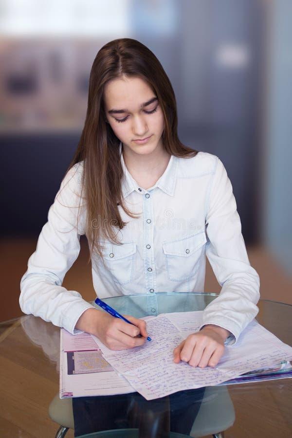 Portret młoda piękna dziewczyna z pracą domową obraz royalty free