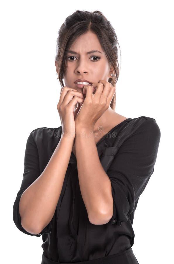 Portret młoda piękna szokująca kobieta odizolowywająca obraz stock