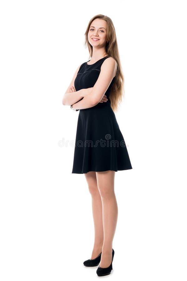 Portret młoda rozochocona biznesowa kobieta w pełnym przyroscie zdjęcia stock