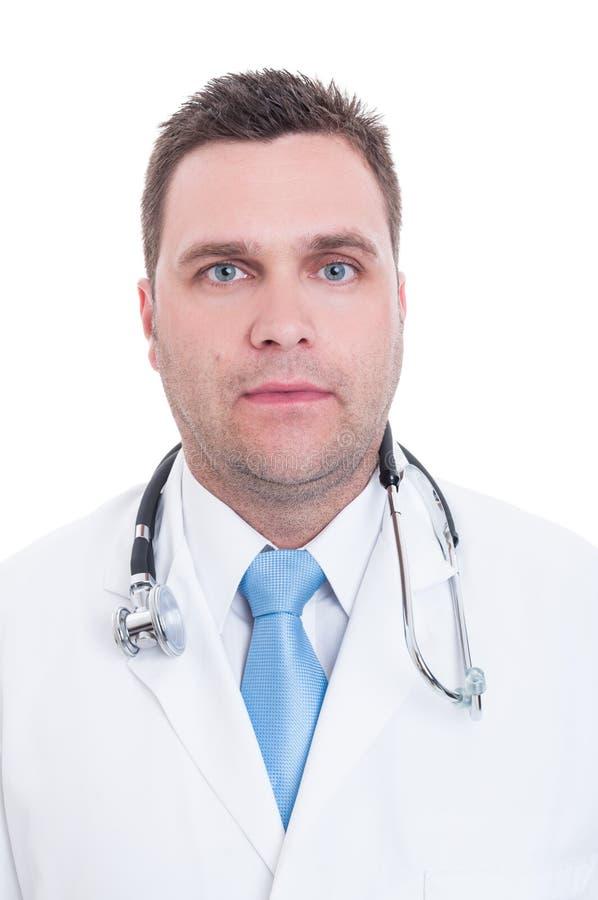 Portret młoda samiec lekarka jest poważny obraz royalty free