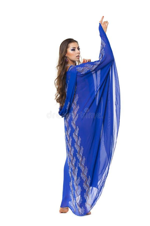 Portret młoda seksowna kobieta w błękitnym tunika języku arabskim obrazy royalty free