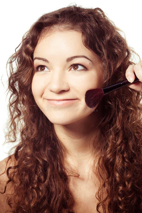 Portret uśmiechnięta kobieta z uzupełniał narzędzia obraz stock