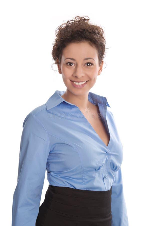Portret młoda uśmiechnięta biznesowa kobieta w błękitnej bluzce - jest obrazy royalty free