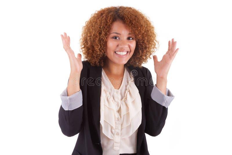 Portret młodego amerykanina afrykańskiego pochodzenia biznesowa kobieta - Czarny peop zdjęcie stock
