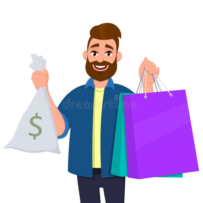 Portret młodego człowieka mienia torby na zakupy Osoba seansu gotówka, pieniądze torba z dolarowym symbolem w ręce Nowożytny styl royalty ilustracja