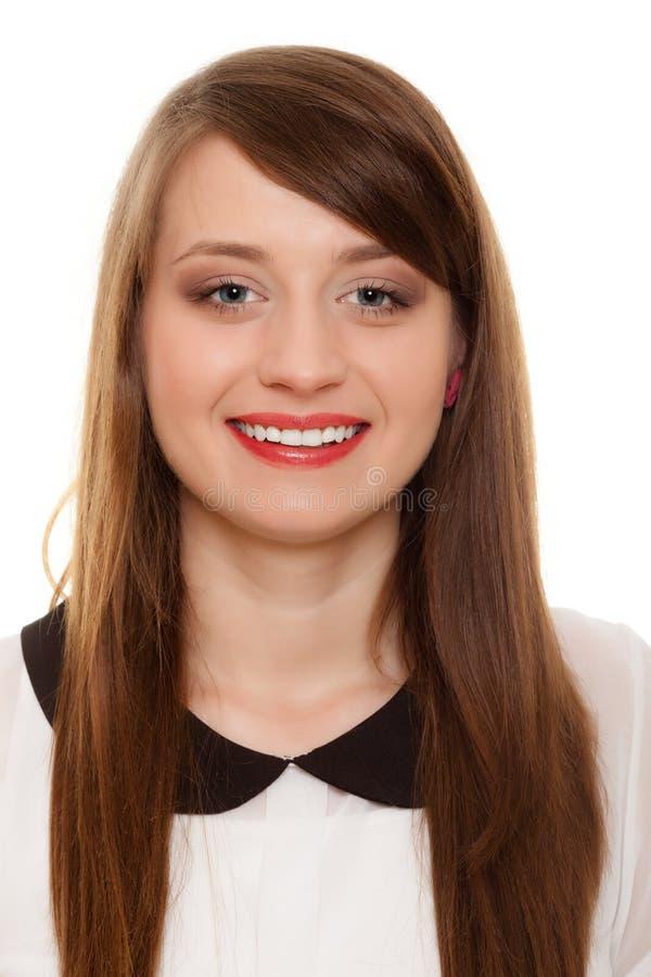 Portret młodej kobiety dziewczyny szczęśliwy student collegu zdjęcia stock