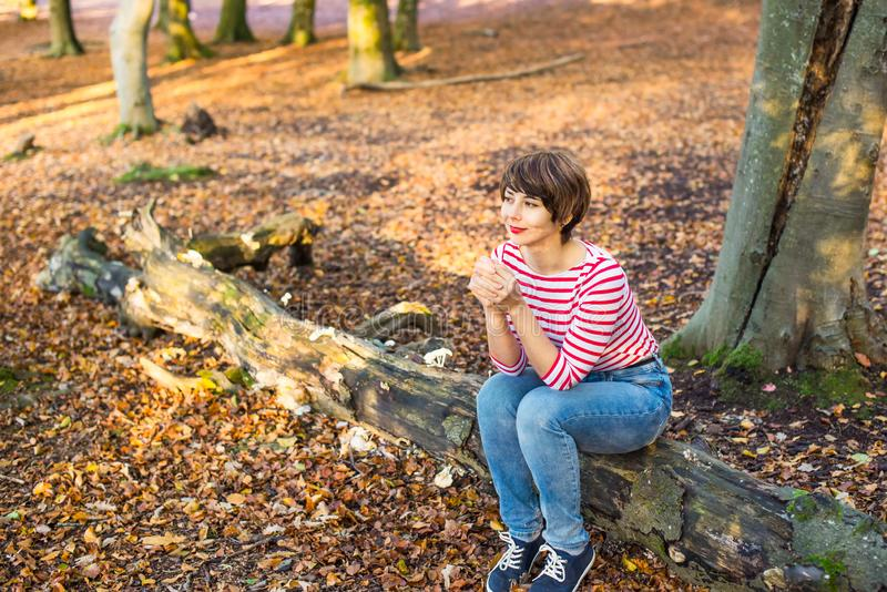 Portret młodej kobiety relaksować na spadać drzewie w jesienny lasowy patrzeć daleko od i obsiadanie dziewczyny się uśmiecha Jesi zdjęcia stock