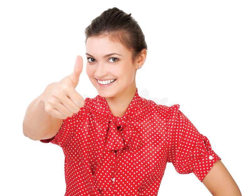 Portret młody bizneswoman gestykuluje kciuk up podpisuje obraz stock