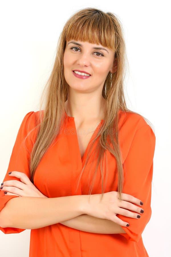Portret młody bizneswoman lub uczeń w eleganckim odziewa fotografia royalty free