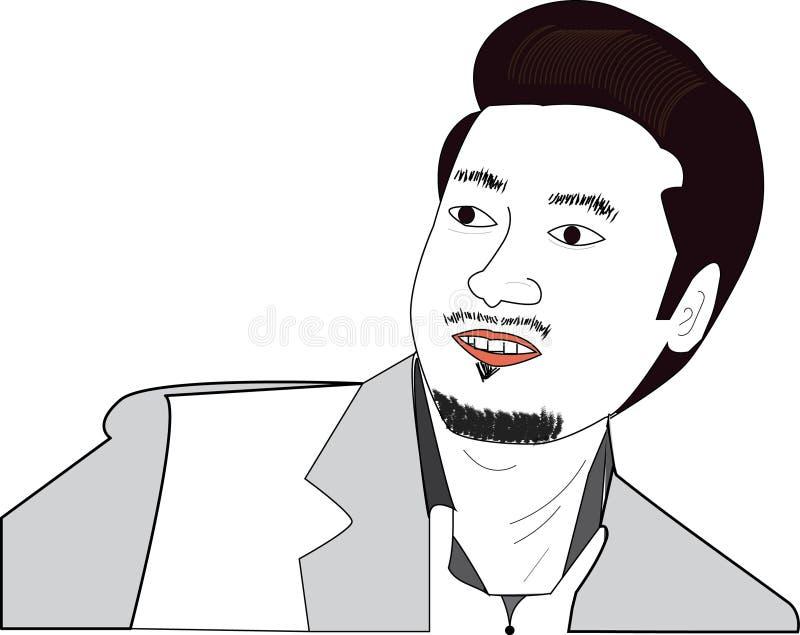 Portret - młody człowiek jest przyglądający someone ilustracji