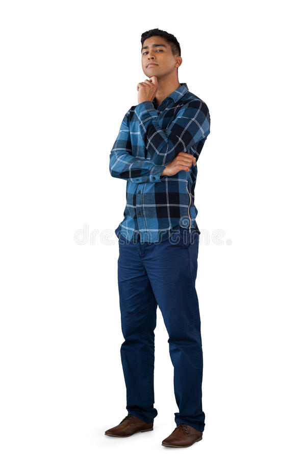 Portret młody człowiek z ręką na podbródku fotografia stock