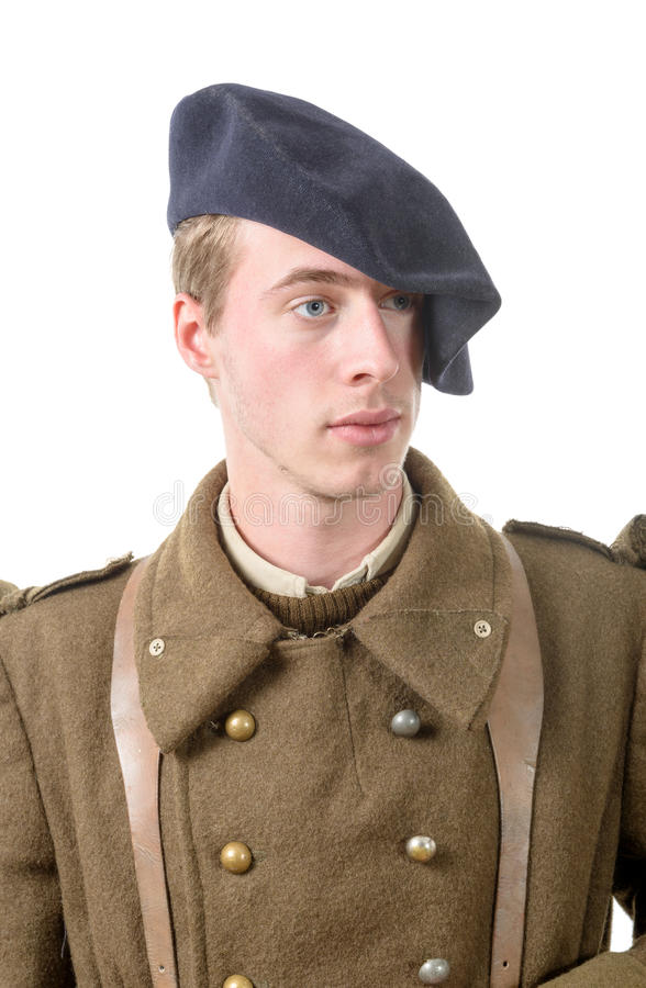 Portret młody Francuski żołnierz w 1940 obraz royalty free