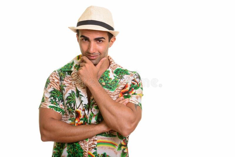 Portret młody przystojny Perski turystyczny mężczyzna obrazy royalty free