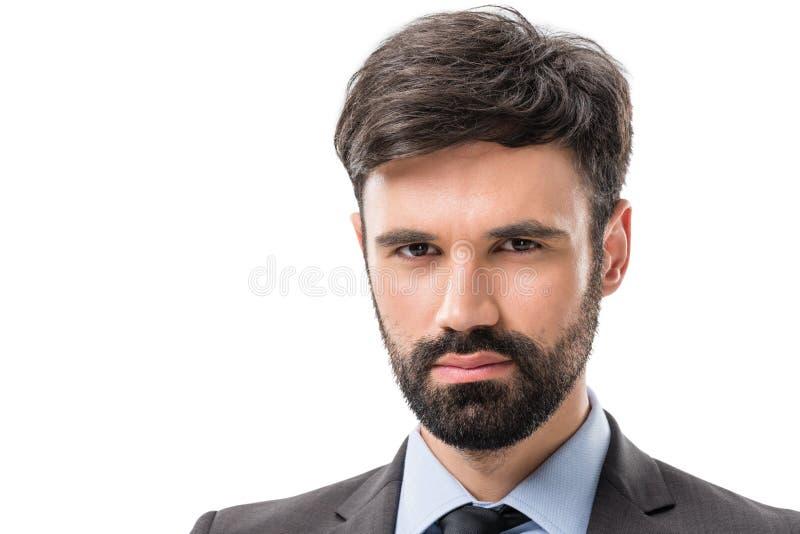portret młody ufny biznesmen patrzeje kamerę zdjęcia stock
