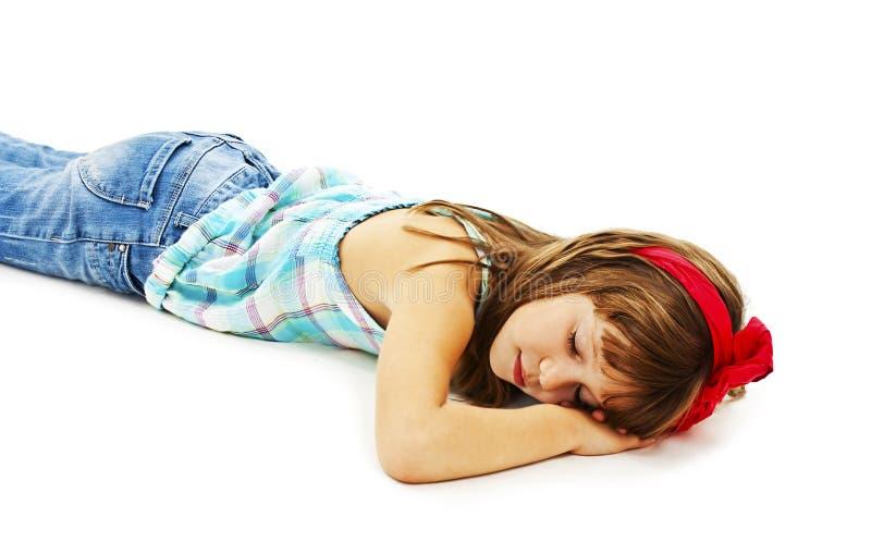 Portret mała dziewczynka w przypadkowej odzieży dosypianiu zdjęcia stock