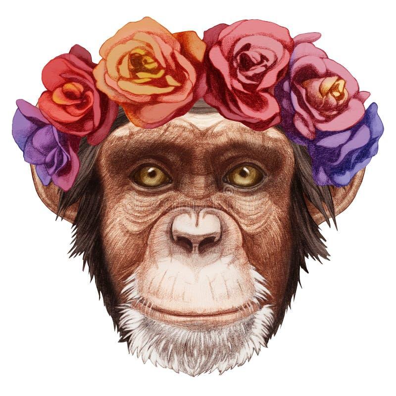 Portret małpa z kwiecistym kierowniczym wiankiem royalty ilustracja
