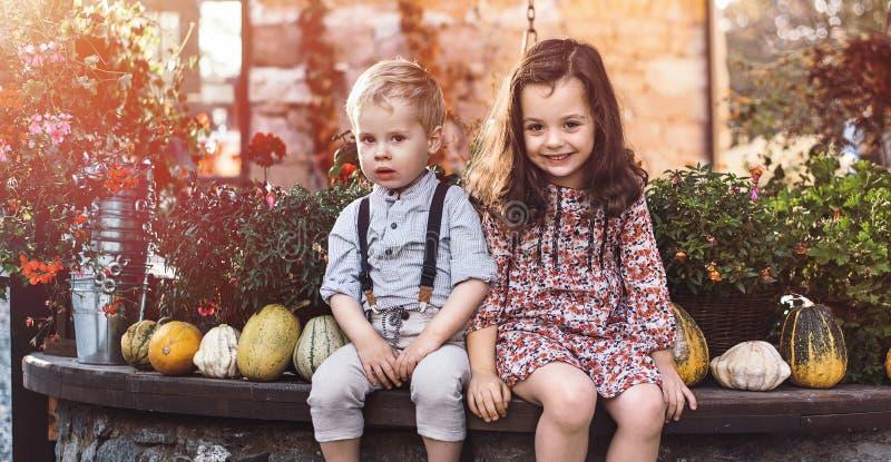 Portret mali rodzeństwa na gospodarstwie rolnym fotografia royalty free