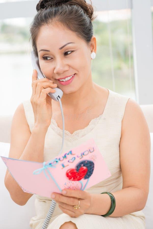 Telefon gratulacje obrazy stock