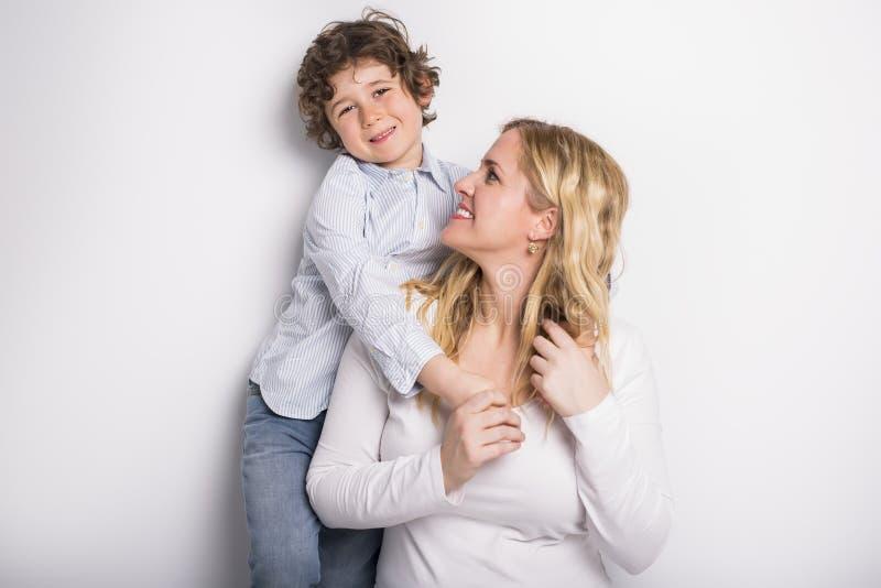 Portret matka i syn obrazy stock