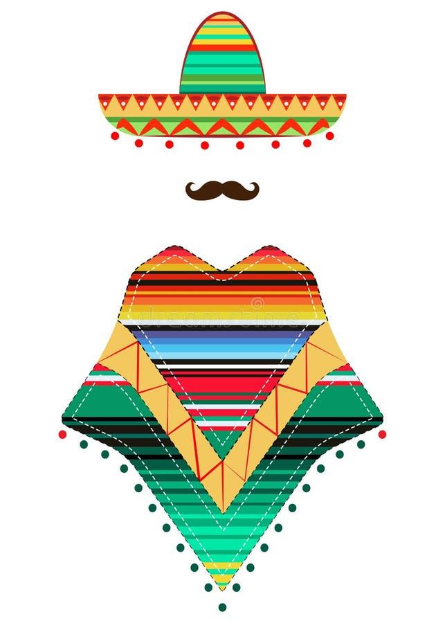 Portret Meksykański mężczyzna w sombrero i poncho, nakreślenie wektorowa ilustracja odizolowywająca na białym tle ilustracja wektor
