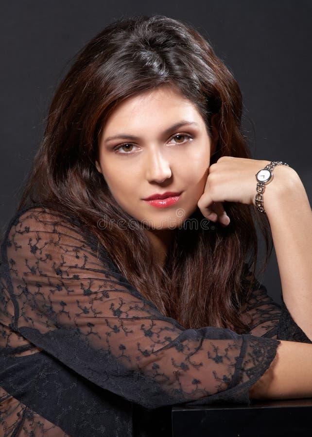 Portret met horloge. royalty-vrije stock foto