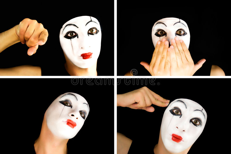 Portret of the mime. Close up royalty free stock images