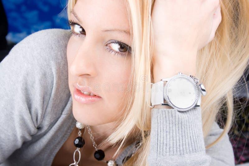 Portret mody piękna blondy kobieta obraz royalty free