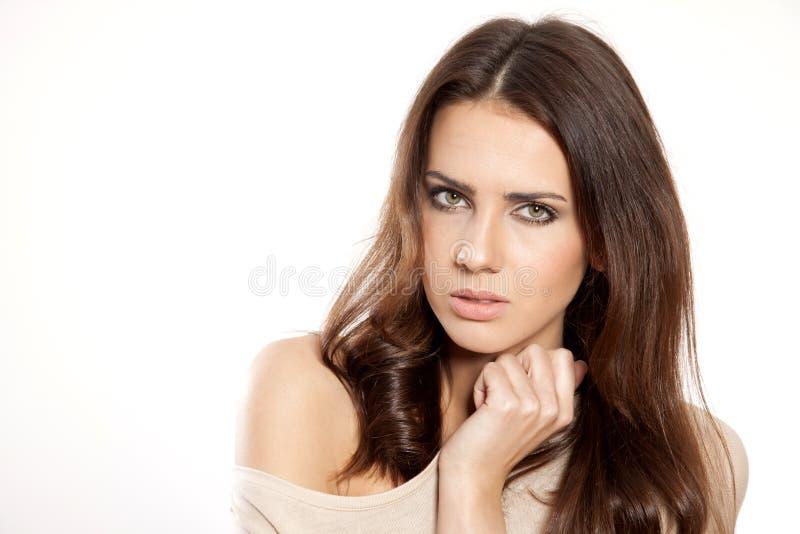 Portret mooi brunette stock afbeeldingen
