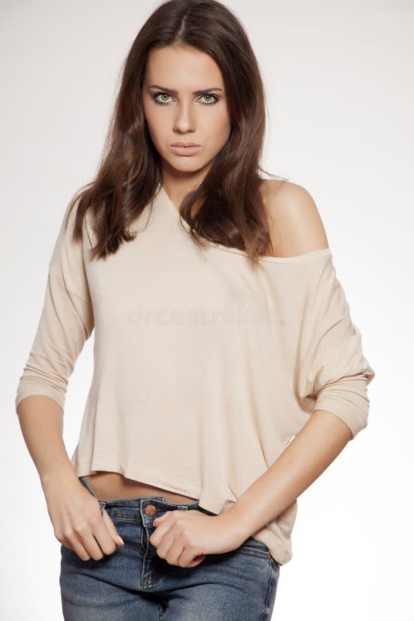 Portret mooi brunette royalty-vrije stock foto