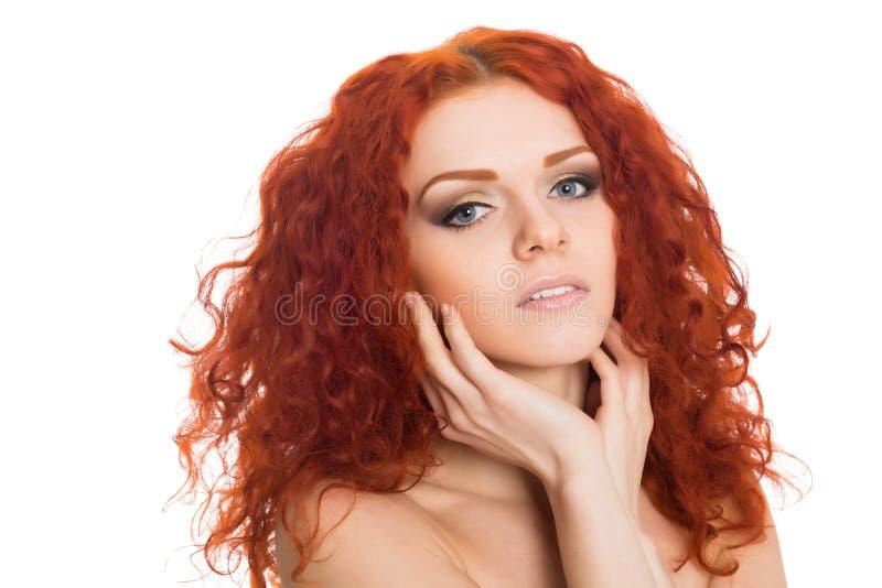 Portret mooi rood haired jong meisje royalty-vrije stock foto