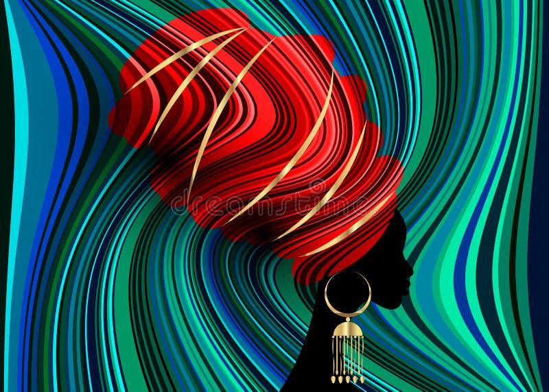 Portret mooie Afrikaanse vrouw in de traditionele druk van de omslag Afrikaanse, Traditionele dashiki van tulband rode Kente hoof stock illustratie