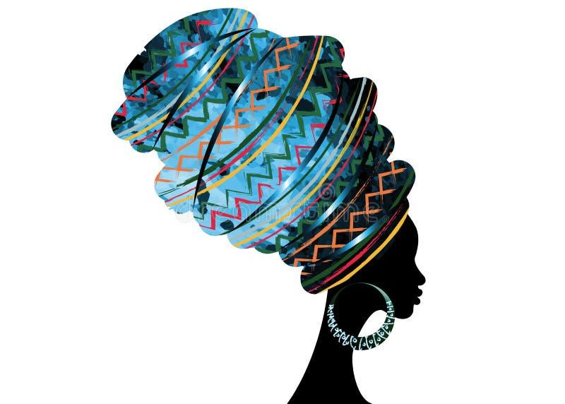 Portret mooie Afrikaanse vrouw in de traditionele druk van de omslag Afrikaanse, Traditionele dashiki van tulband rode Kente hoof royalty-vrije illustratie
