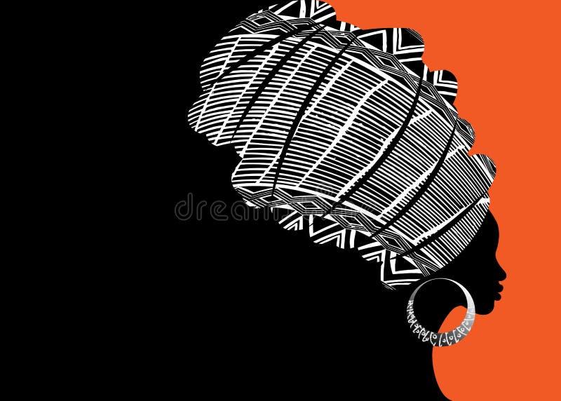 Portret mooie Afrikaanse vrouw in traditionele tulband, de hoofdomslag van Kente, dashikidruk, Afro-het vectorsilhouet van de vro stock illustratie