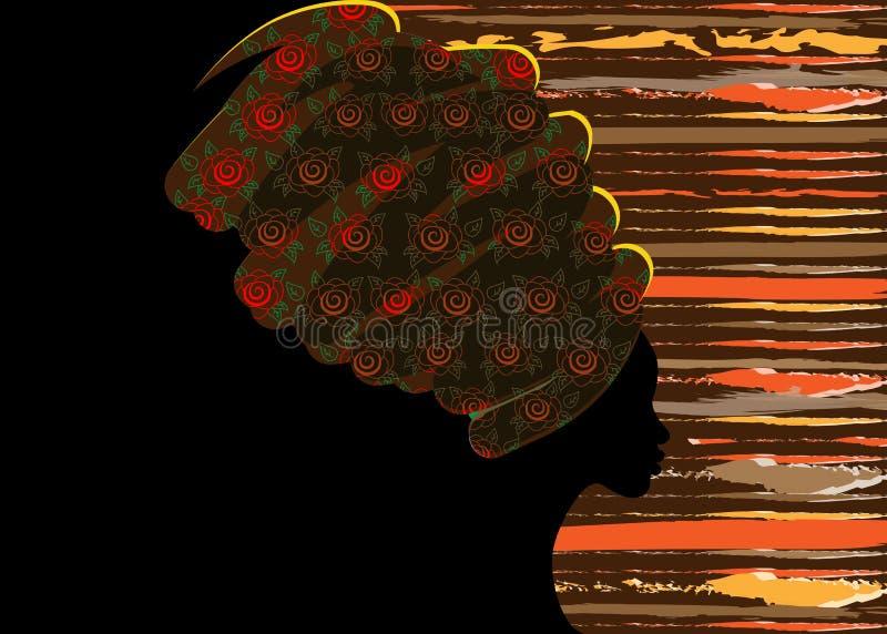 Portret mooie Afrikaanse vrouw in traditionele tulband, zwartensilhouet vector illustratie