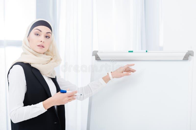 portret muzułmański bizneswoman wskazuje ay białą deskę w hijab fotografia royalty free