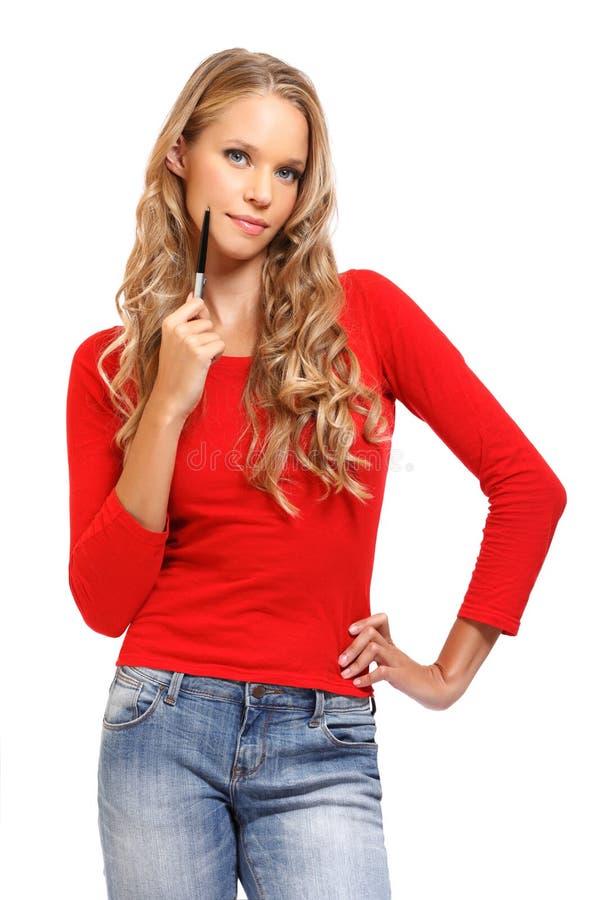 Portret myśląca blond kobieta fotografia royalty free