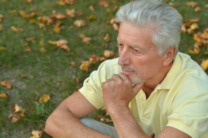 Portret myślącego starszego mężczyzny w parku zdjęcia stock