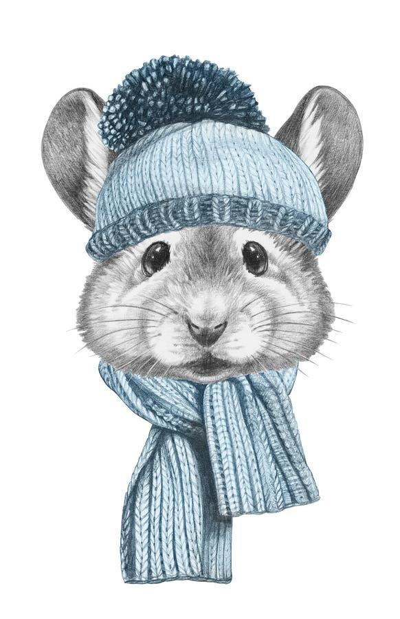 Portret mysz z kapeluszem i szalikiem ilustracja wektor