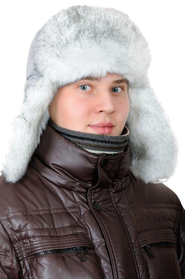 Portret nastoletni chłopak w zimie odziewa obraz stock