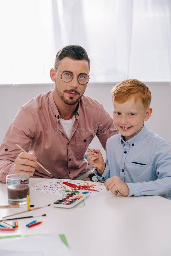 portret nauczyciel i chłopiec zdjęcia royalty free