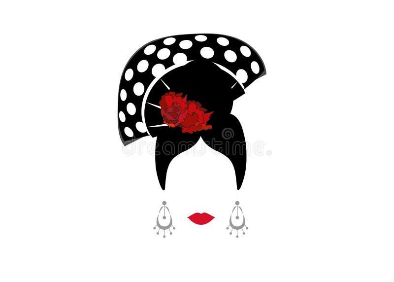 Portret nowożytna meksykanina lub hiszpańszczyzn kobieta whit rzemiosła akcesoria, piękna pojęcie, loga Wektorowy ilustracyjny pr ilustracja wektor