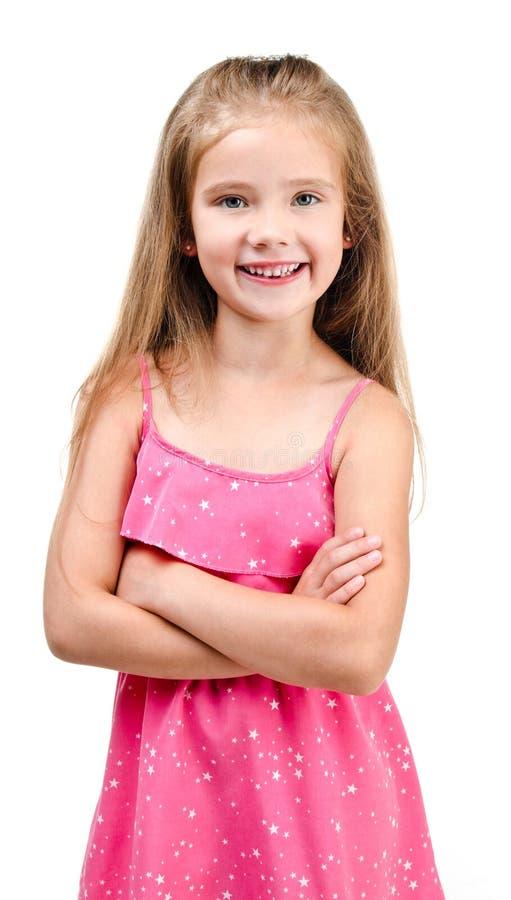 Portret odizolowywająca uśmiechnięta śliczna mała dziewczynka obrazy royalty free